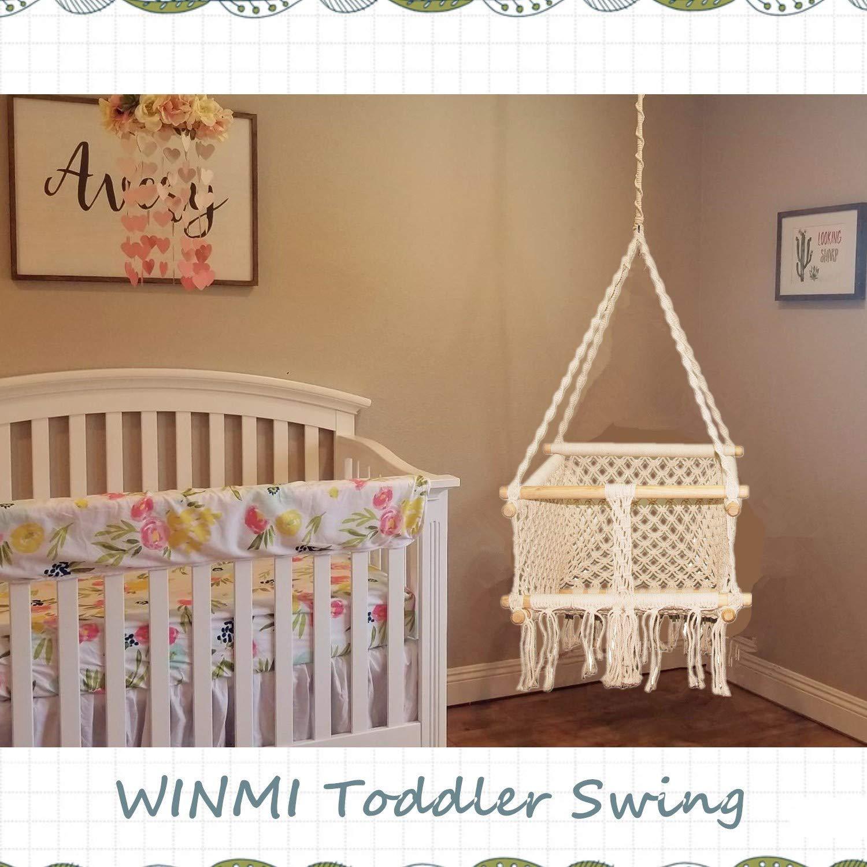 Winmi Toddler Children Hanging Chair Handmade Macrame Cotton Indoor Outdoor Hanging Chair Swing