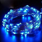 イルミネーションライト ストリングライト LED 2m 電球数20 電池式 結婚式 誕生日 飾りライト スター 電飾 室内室外 防水 電球色 (ブルー)