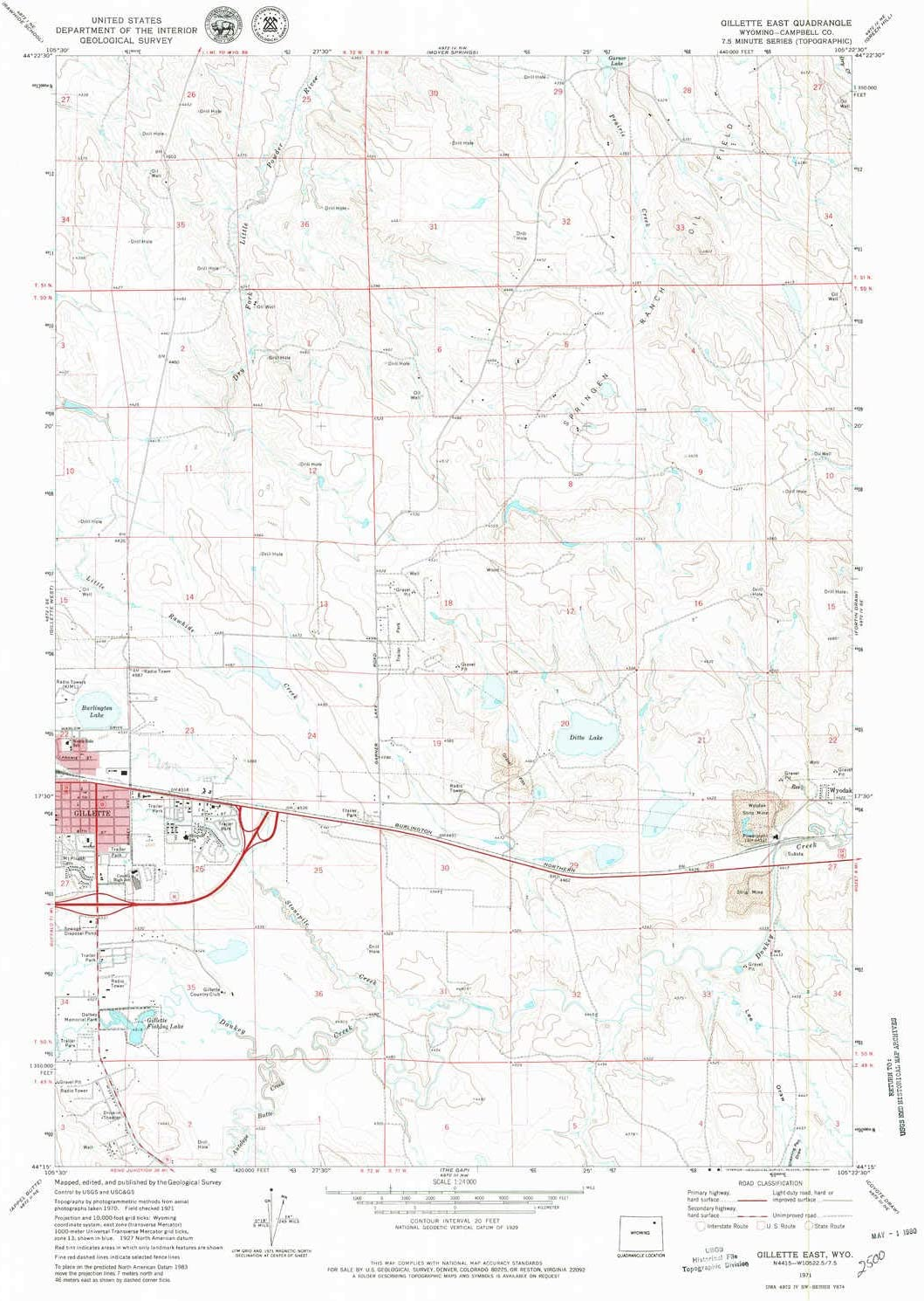 YellowMaps Gillette East WY topo map, 1:24000 Scale, 7.5 X 7.5 Minute, Historical, 1971, Updated 1980, 26.9 x 21.7 in
