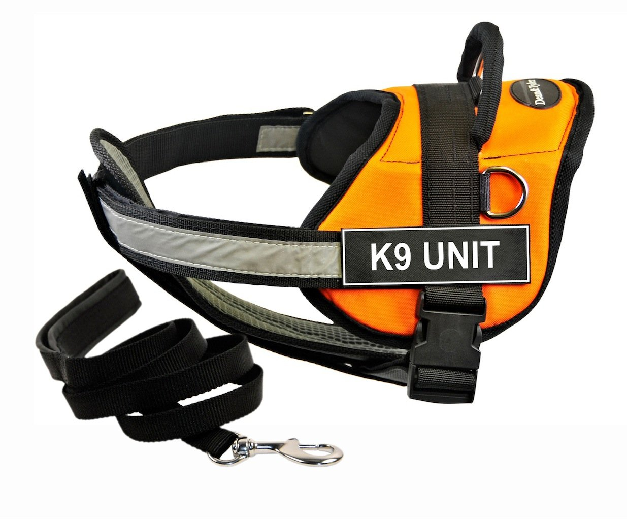 Dean & Tyler DT Works orange K9 UNIT Harness with Chest Padding, X-Small, and Black 6 ft Padded Puppy Leash.