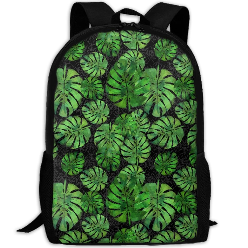OIlXKV Tropical Banana Leaf Print Custom Casual School Bag Backpack Multipurpose Travel Daypack For Adult
