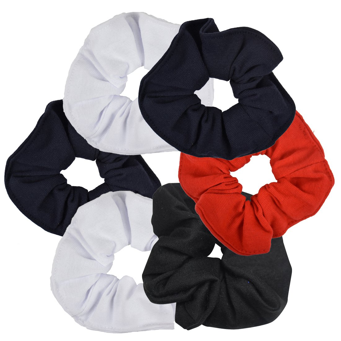 6 Pack Large Solid Scrunchies Hair Elastics-Classic Colors Motique Accessories 6MTPH0039Q4