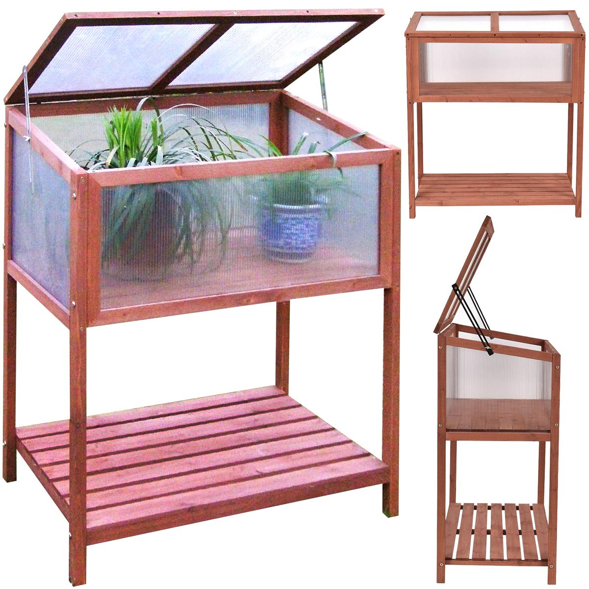 Garden Portable Wooden Greenhouse Cold Frame for Raised Flower Planter Protection 35.5'' Long x 19.5'' Wide x 40.5'' High