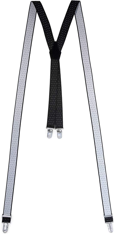 diversi colori produzione propria prezzi di fabbrica Bretelle uomo in tessuto elastico 4 fibbie a X regolabili con dorsale vera pelle camoscio larghezza 2,5 cm Made in Italy