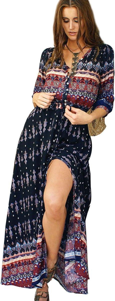فستان نسائي بوهيمي طويل 3/4 كم بطباعة كلاسيكية بزر مشقوق من BIYOUTH