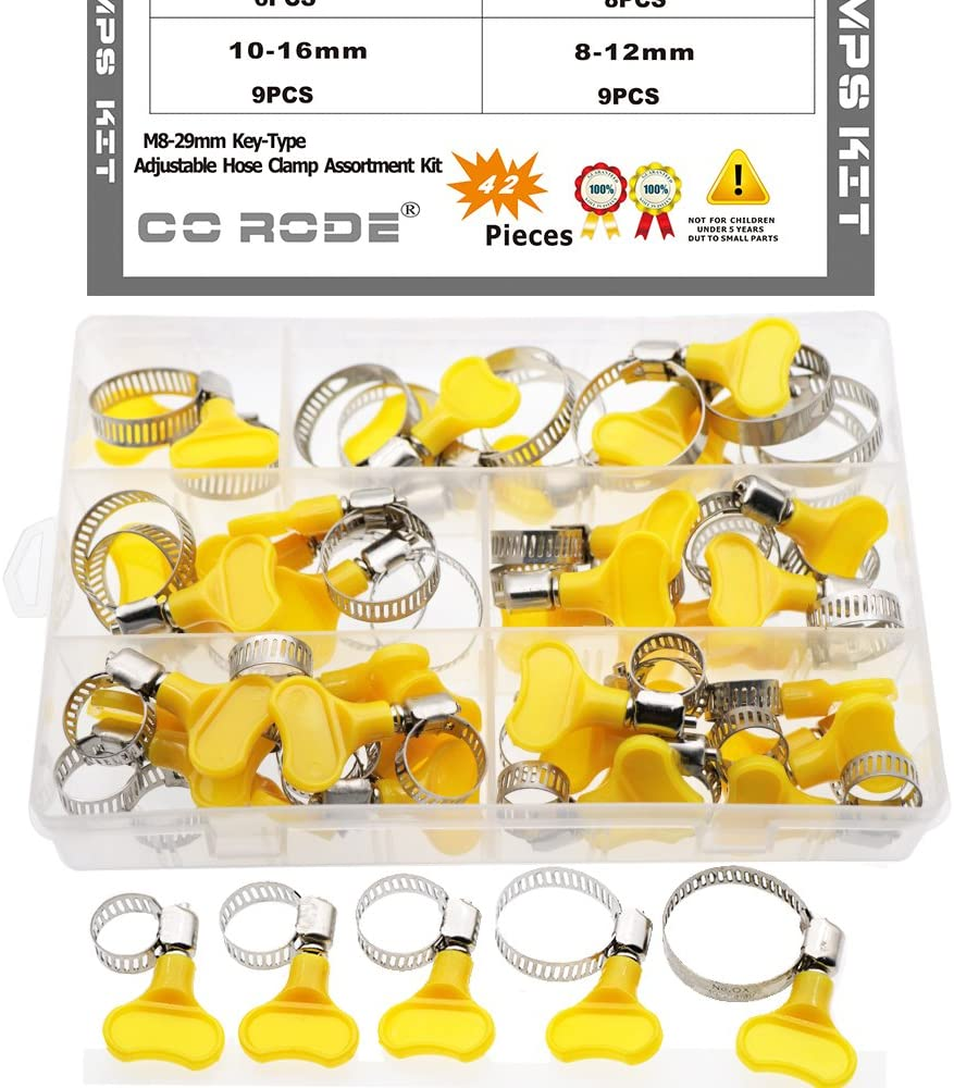 CO RODE 8-29mm Adjustable Stainless Steel Hose Clamp for Pipe Worm Gear Plumbing Automotive (42-Pack)