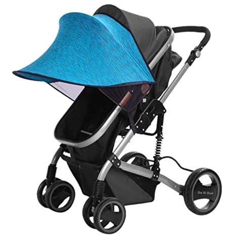 Happy Cherry Portátil Parasol Protector contra Sol Lycra Anti-UV Sombrilla Cobertura Universal para Silla de Paseo Cochecito Carrito de Bebé - Azul