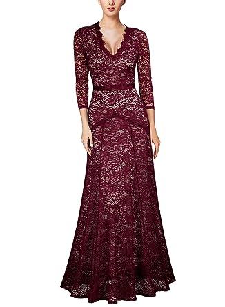 44fbda3648d70 Amazon.com: Miusol Women's Floral Lace 2/3 Sleeves Long Bridesmaid Maxi  Dress: Clothing