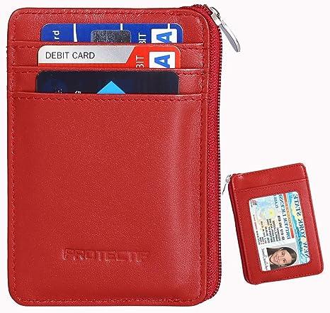 RFID bloqueo seguro cartera de mini y RFID bolsillo frontal de piel auténtica Funda tipo cartera