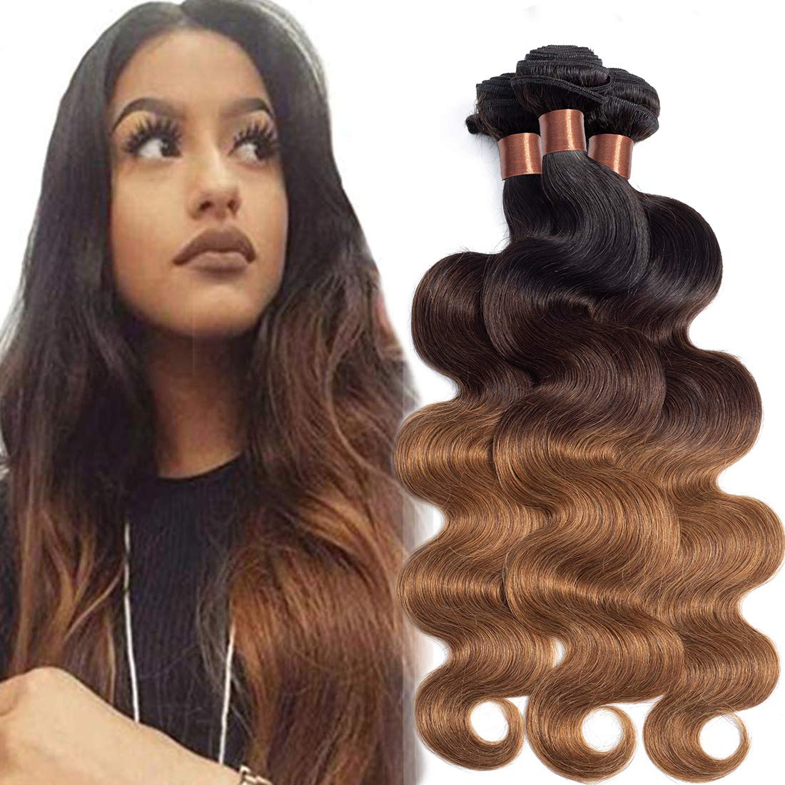 BLACKMOON HAIR Brazilian Virgin Ombre Hair Body Wave Hair Weave Three Bundles Unprocessed Virgin Ombre Human Hair Extensions T1B/4/30(20 20 20 Inch)