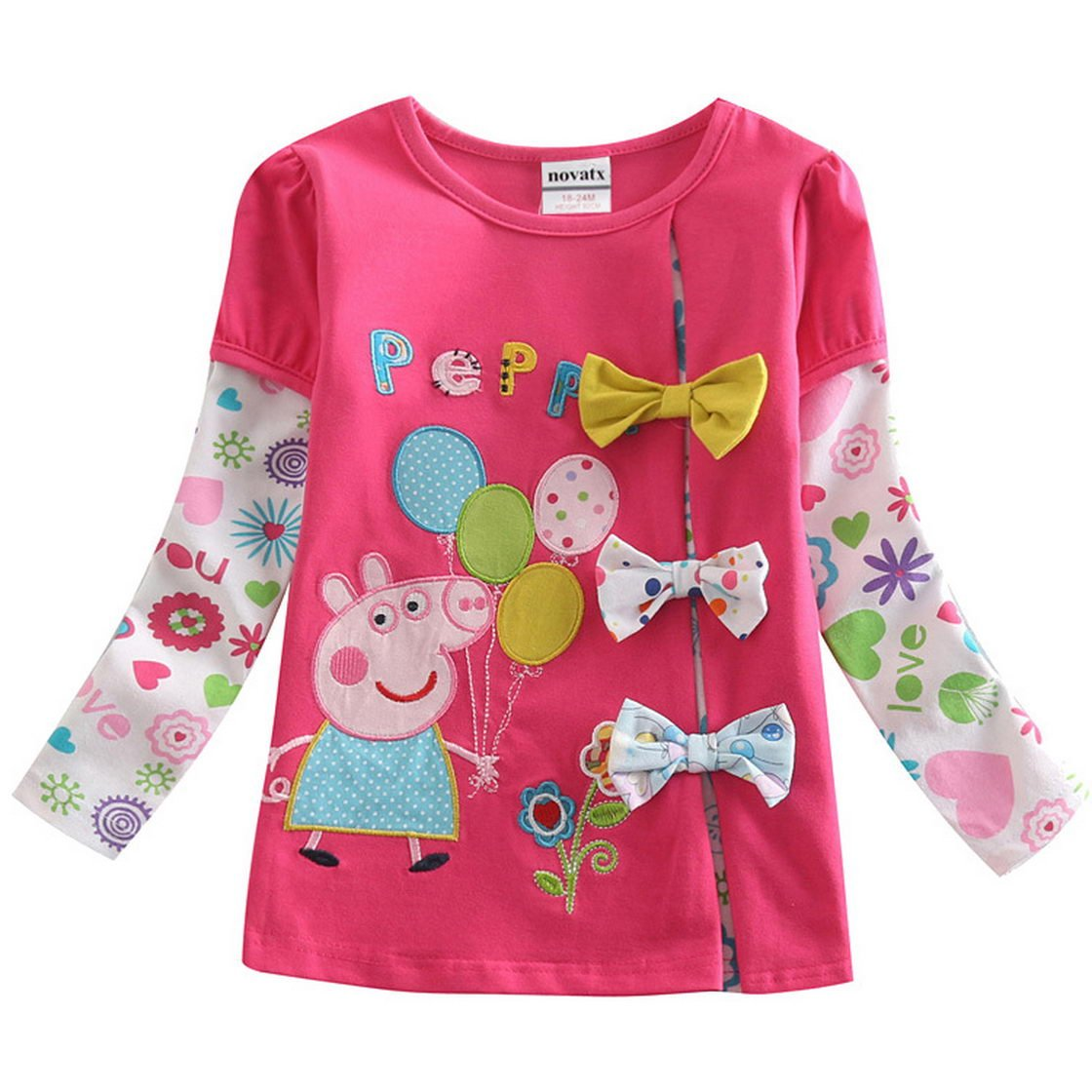 Peppa Pig Little Girl Long Sleeve Cartoon Embroidered Cotton T-Shirts, 1-6Y Tiful