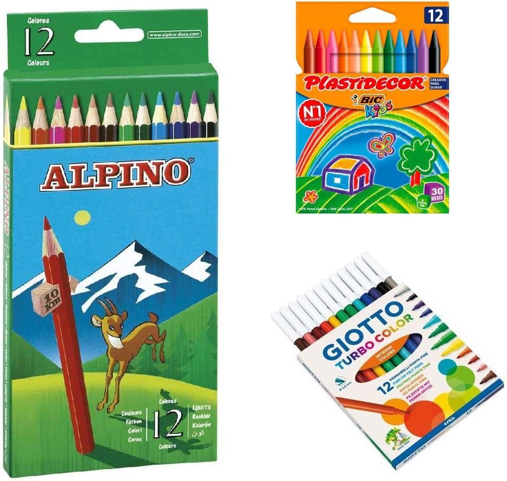 Pack de caja 12 Ceras Plastidecor / 12 Lapices Alpino / 12 Rotuladores Giotto: Amazon.es: Oficina y papelería