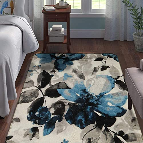 Lahome Contemporary Modern Flowers Area Rug – 3 X 5 Faux Wool Non-Slip Area Rug Accent Distressed Throw Rugs Floor Carpet for Living Room Bedrooms Laundry Room Decor 3 X 5 , Blue Gray