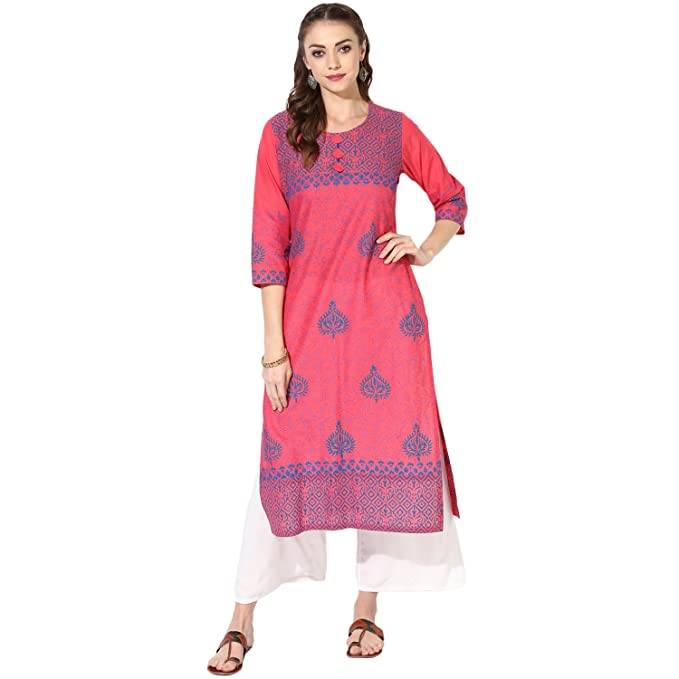 f0caa6a52 Zoeyams Women s Pink Cotton Block Prints Long Straight kurti  Amazon.in   Clothing   Accessories
