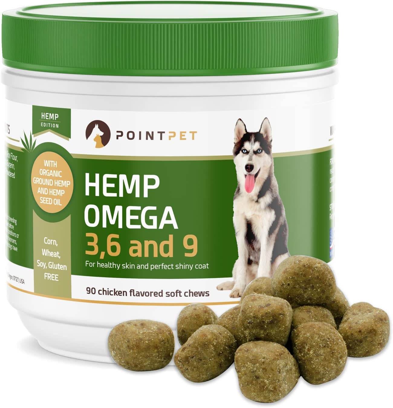 POINTPET Omega 3 6 9 for Dogs with Organic Hemp Oil – Dog Skin and Coat Fish Oil Supplement, Natural Fatty Acids EPA DHA, Helps with Dry and Itchy Skin, Joints, Heart and Brain Health, 90 Soft Chews