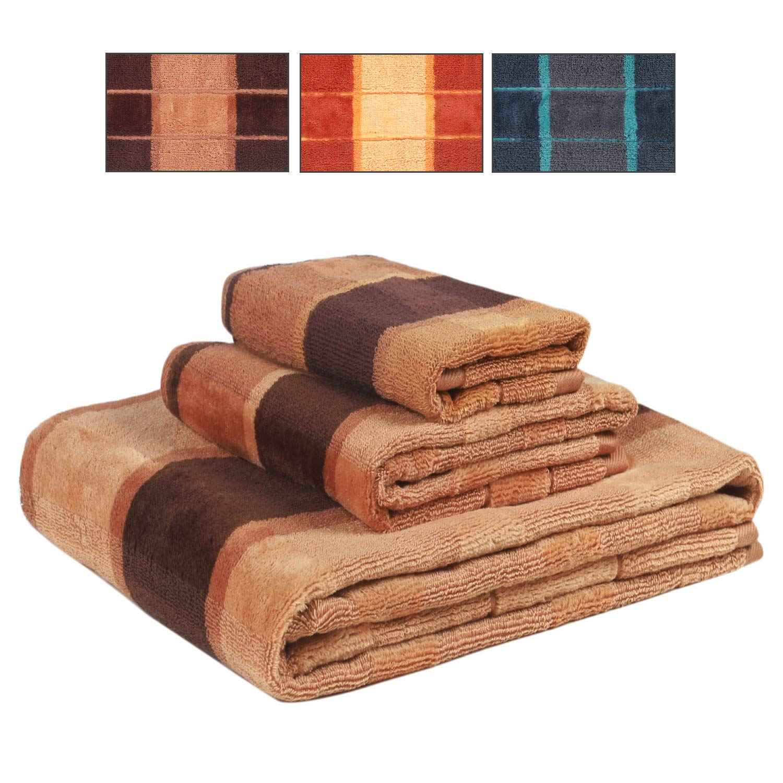 Fade-Resistent Bath Towel Set - 100% Cotton - Super Absorbent Weave - Gift Set - 3 Piece (Brown)