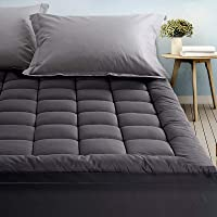 Giselle Bedding Double Mattress Topper Pillowtop 1000GSM Charcoal Microfibre Bamboo Fibre Filling Protector