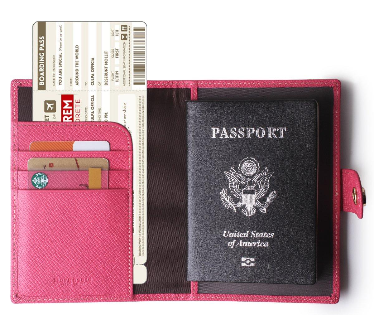 Borgasets Leather Rfid Blocking Travel Passport Holder Cover Slim ID Card Case Wallet Rose Red