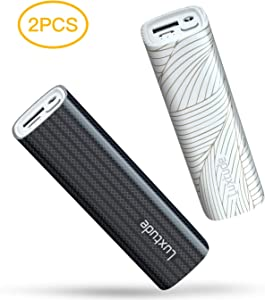 Luxtude myColors 10000mAh Small Portable Charger for iPhone, Samsung Galaxy and Other Android, Fast Charge Battery Pack with Flashlight, Mini Power Bank for iPhone XS/XR/X/8/8P/7/6/6S (2 PCS 5000mAh)