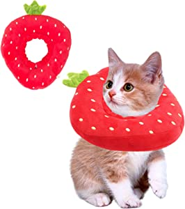 ADOGGYGO Adjustable Cat Recovery Collar, Cute Strawberry Neck Cone After Surgery, Wound Healing Protective Cone Surgery Recovery Elizabethan Collars, Soft Edge Cat Cone for Kitten and Cats