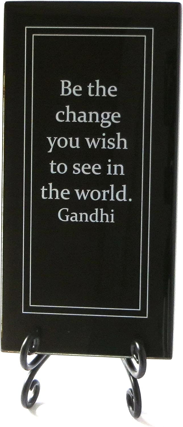 Lifeforce Glass Be The Change You Wish to See in The World Inspirational Glass Plaque. Encouragement and Motivation for Your Desk, a Gift for Someone Special. Includes a Folding Easel Black.