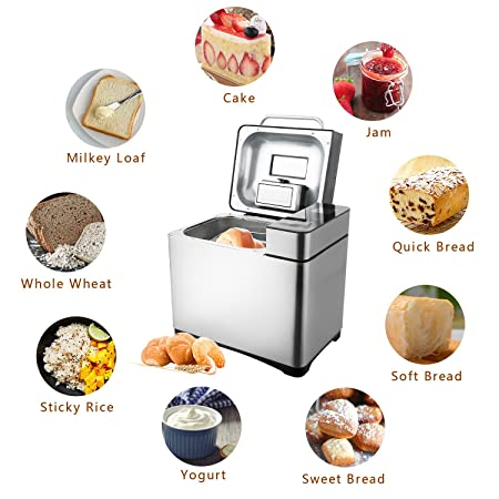 MeyKey - Panificadora (Bread Maker Panificadora Acero Inoxidable Pan Dispositivo 19 programas 15 Horas Tiempo verzögerungs de función Ajustable Bronceado ...