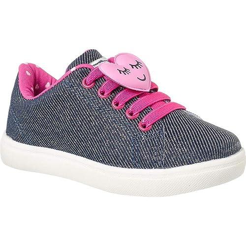 081a70309a Tênis Infantil Feminino Klin Baby Gloss Street Heart Cor  Jeans Escuro Pink  - Tam