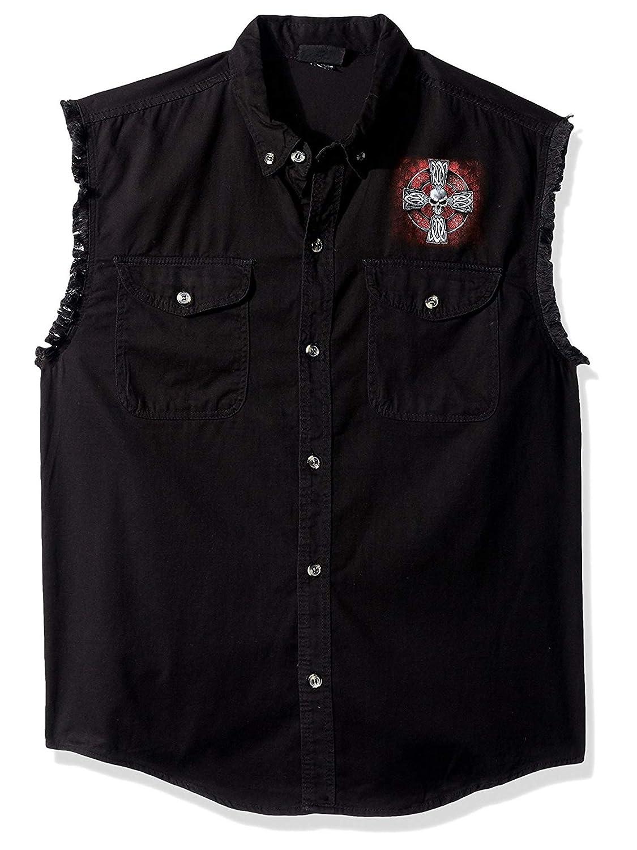 Hot Leathers Mens Celtic Cross Sleeveless Denim Black, Large
