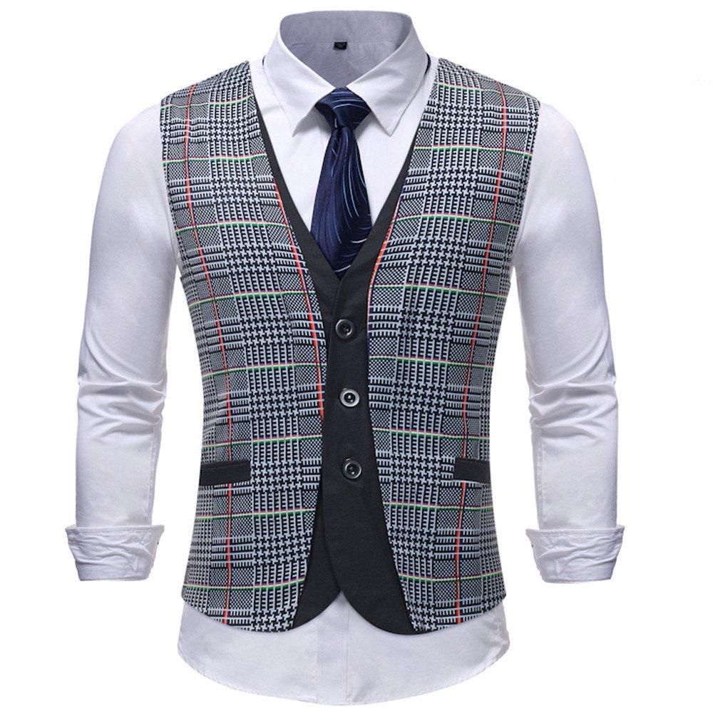 TOPGEE Mens Suit Vests Vest Lattice Dress Coat Waistcoat 3 Button Vests