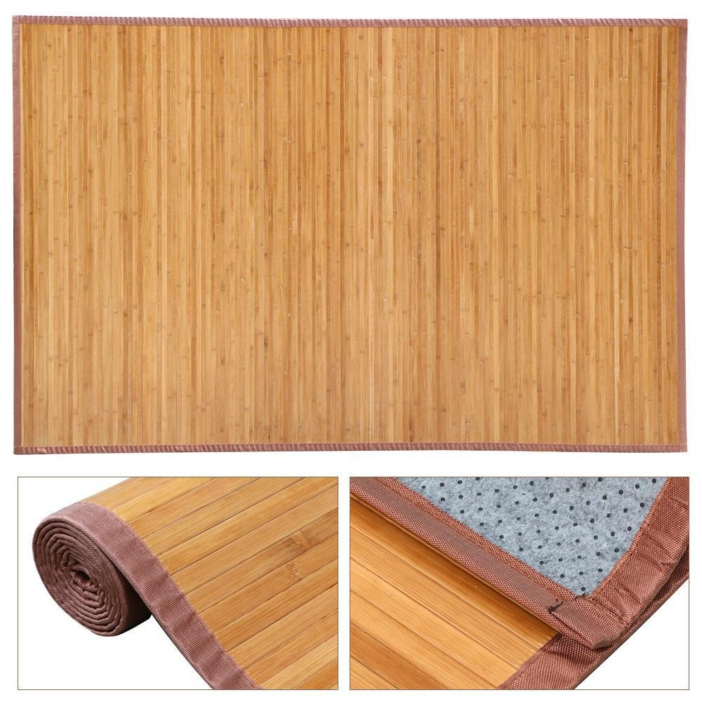 Yaheetech Bamboo Area Rug Carpet 5x 8 Brown Natural Bamboo Wood Floor Mat Bamboo Carpet Indoor Outdoor (8 x 5 ft)