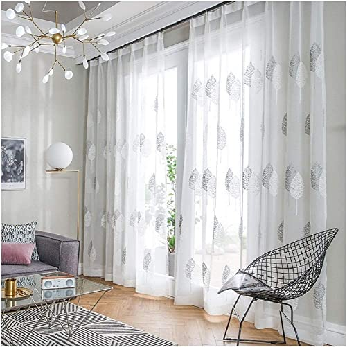 TIYANA 1 Pair Living Room Sheer Curtains, 75 inches in Width by 72 inches in Height, Gray Leaf and White Leaf Embroidery, Hooks Top