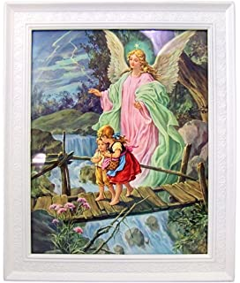 children with guardian angel print in 11 12 inch frame