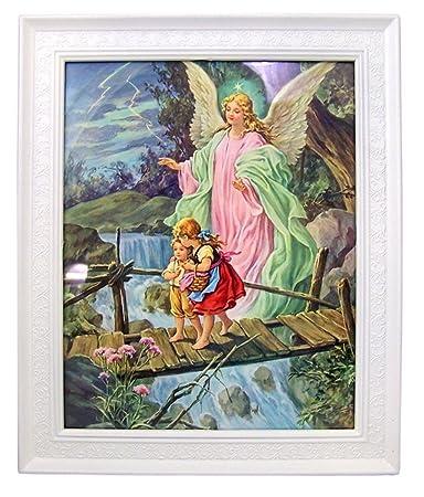Gerffert Children with Guardian Angel Print in 11 1 2 Inch Frame