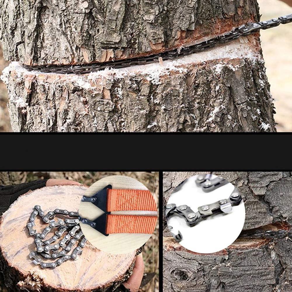 para Supervivencia 103CM 11 Dientes de Acero al Carbono WDEC Sierra de Cadena de Mano Senderismo Plegable con Bolsa de Transporte Port/átil Motosierra de Mano Caza Camping Peque/ños /ÁRboles