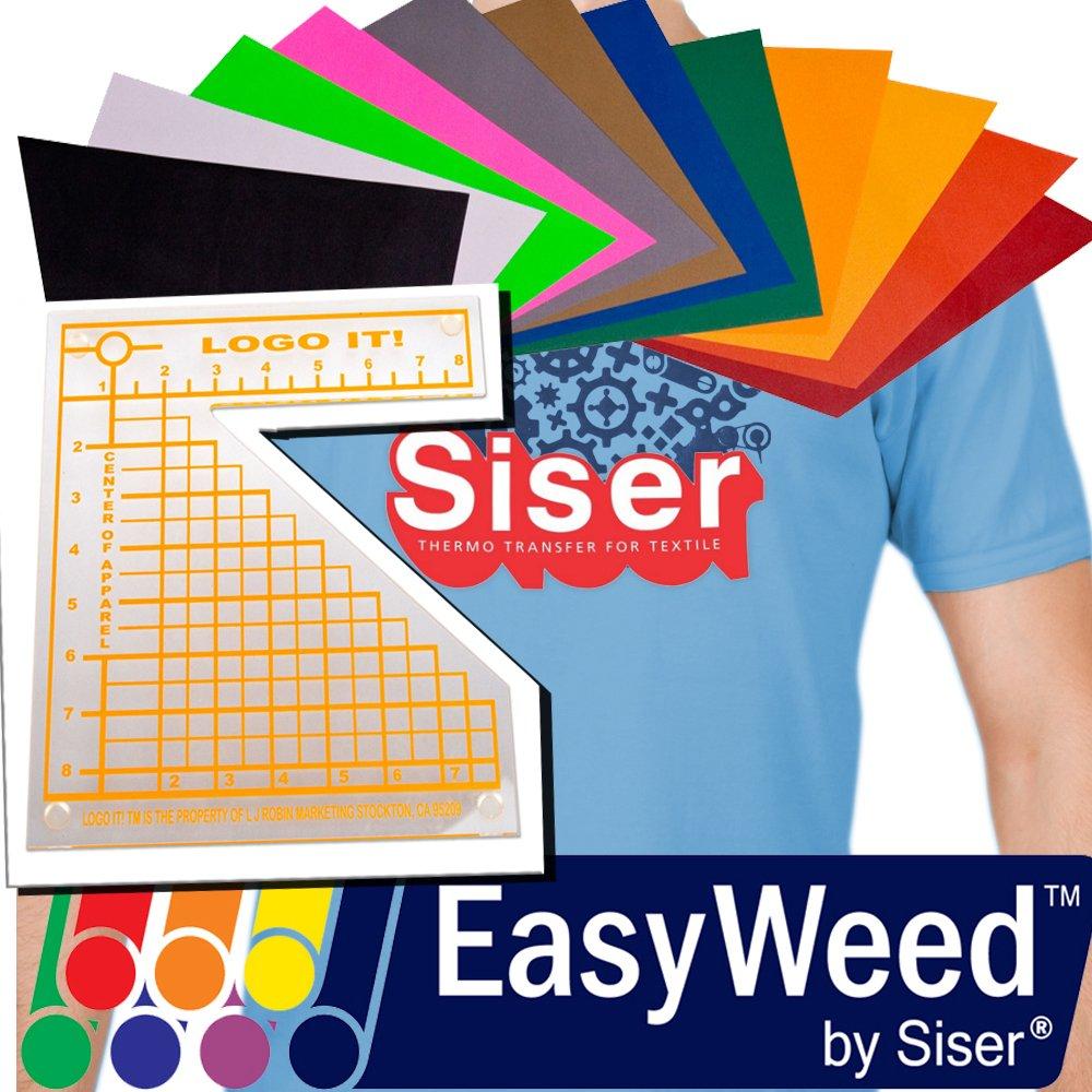 SISER EasyWeed Heat Transfer Vinyl, 12 x 15'' 12-Color BUNDLE + BONUS Heat Transfer Alignment Tool by Siser