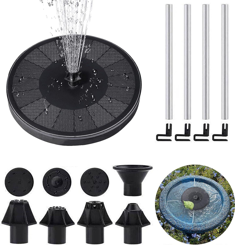 Gecorid 3.5W Solar Fountain Pump for Bird Bath with Fixed Pipe, 7 Nozzles Solar Water Pump for BirdBath, Fish tank, Pond and Garden Decoration