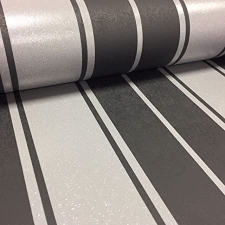 Glitter Stripe Wallpaper Luxury Textured Vinyl Black Silver