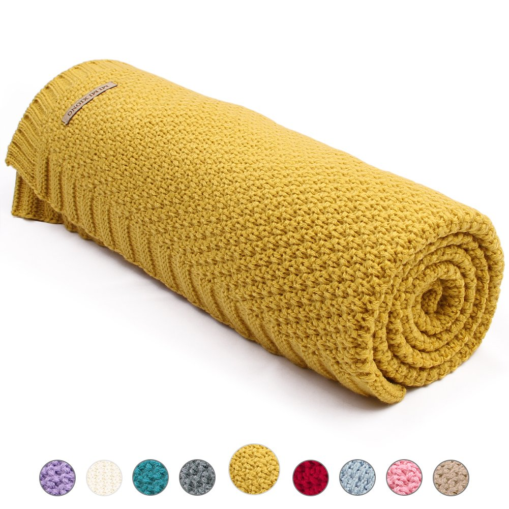 MiMiXiong Toddler Knitted Blanket Baby Blankets for Boys and Girls (Yellow) 82W249