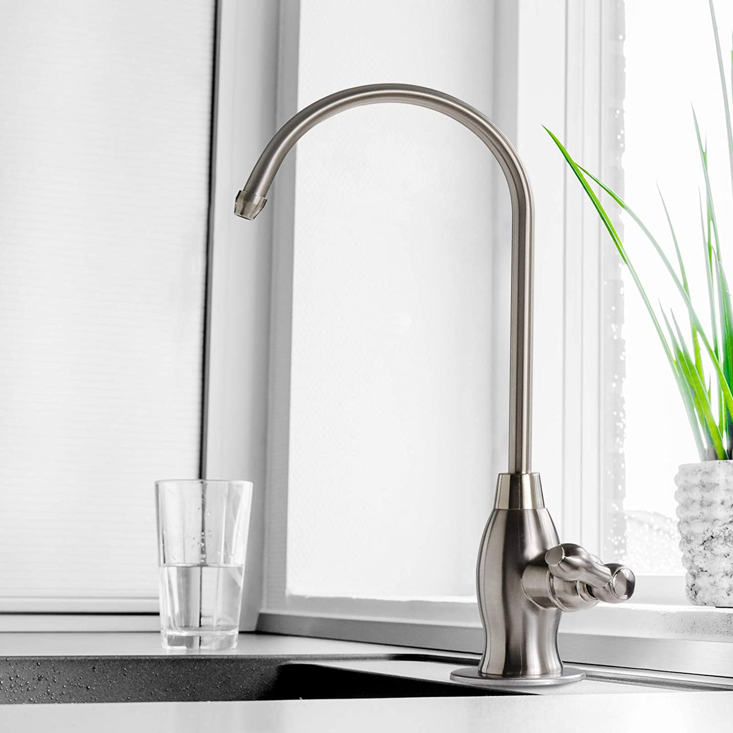 Contemporary Style iSpring GK1-BN Heavy Duty High Spout Kitchen Bar Sink Drinking Water Faucet Brushed Nickel iSpring Water Systems