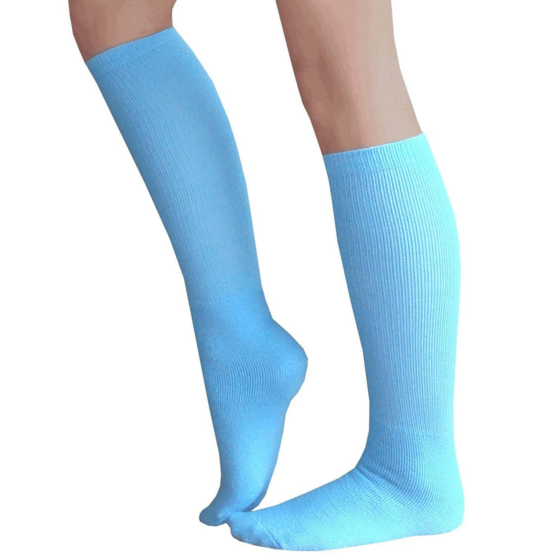 Chrissy s Socks Women s Thick Solid Knee High Socks 7 11 Blue at