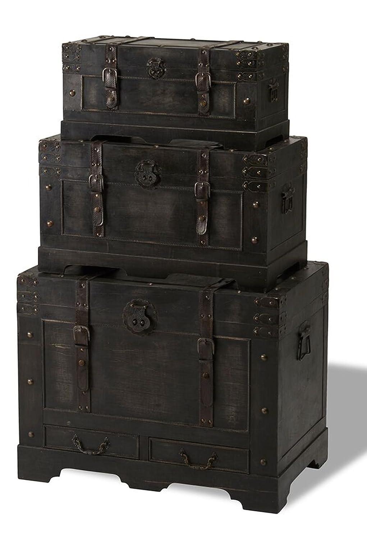 3er Truhenset KIRAS in schwarz Holztruhe Möbeltruhe Truhe Kiste Rustikal