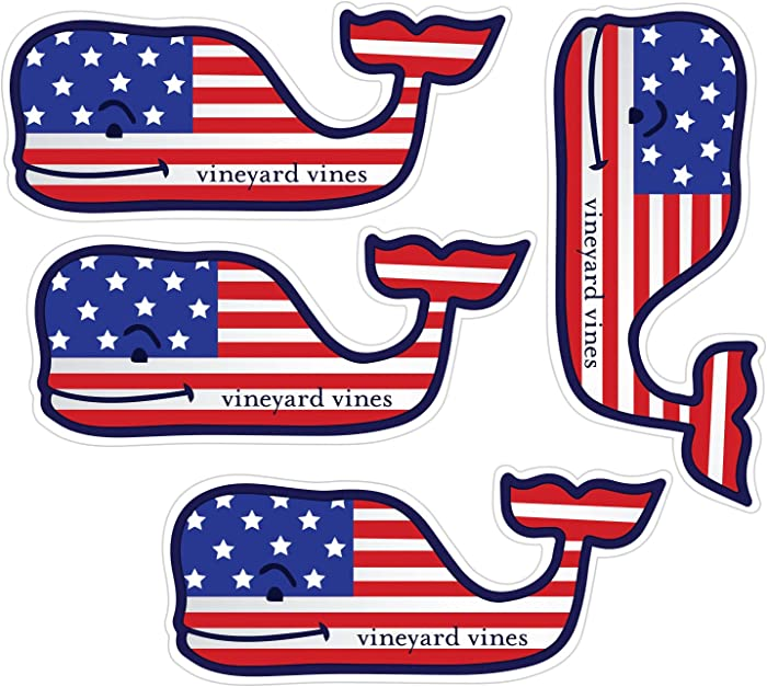 "Vineyard Vines American Whale Flag Stickers, Vinyl Decal - UV Protected & Waterproof, 2"" x 4.5"" Pack of 4"