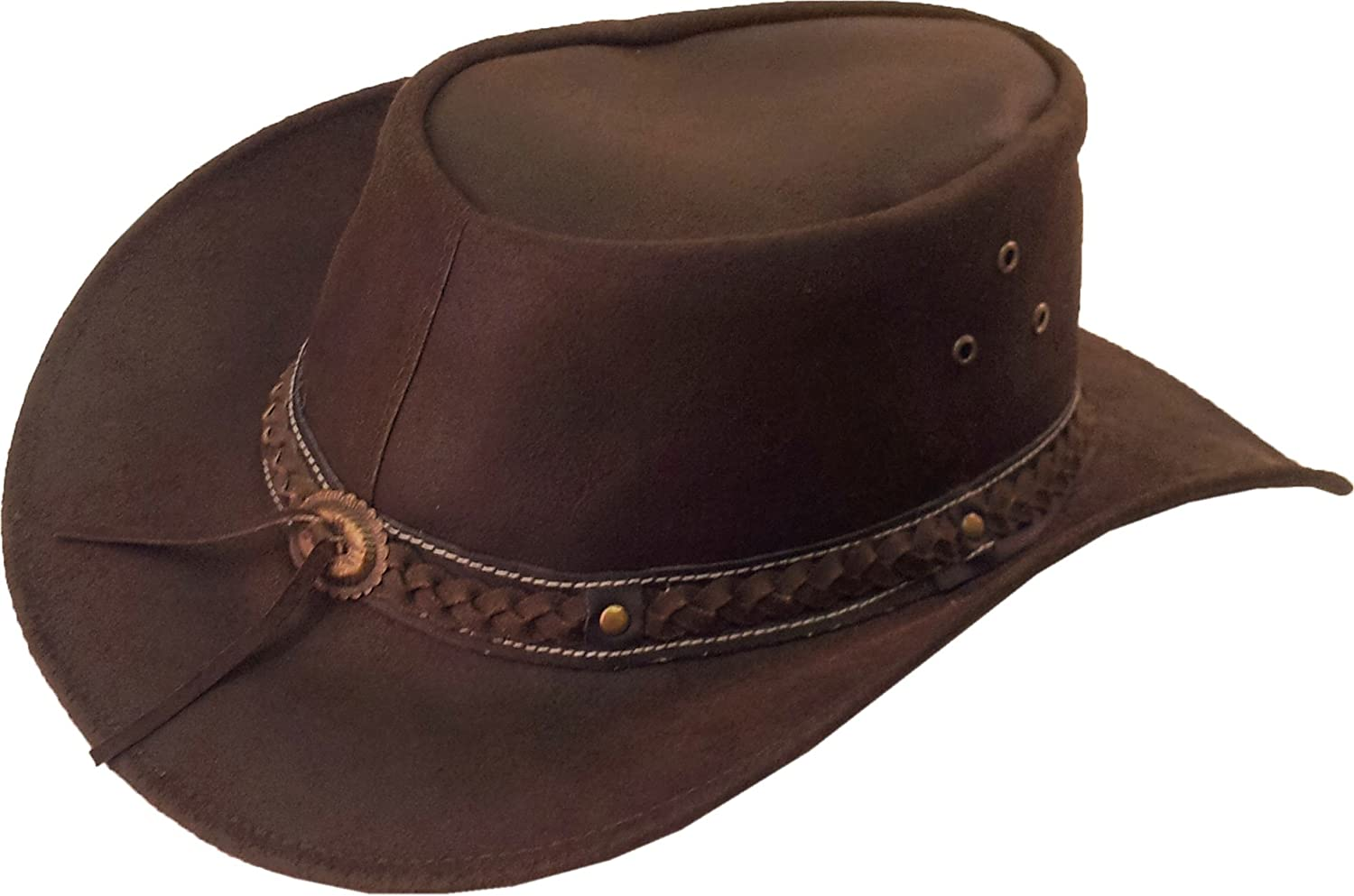 Real Leather Australian Cowboy Hat Aussie brown Sun hat #8H