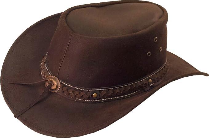 ecfb745fd61 Real Leather Australian Cowboy Hat Aussie brown Sun hat  8H  Amazon ...