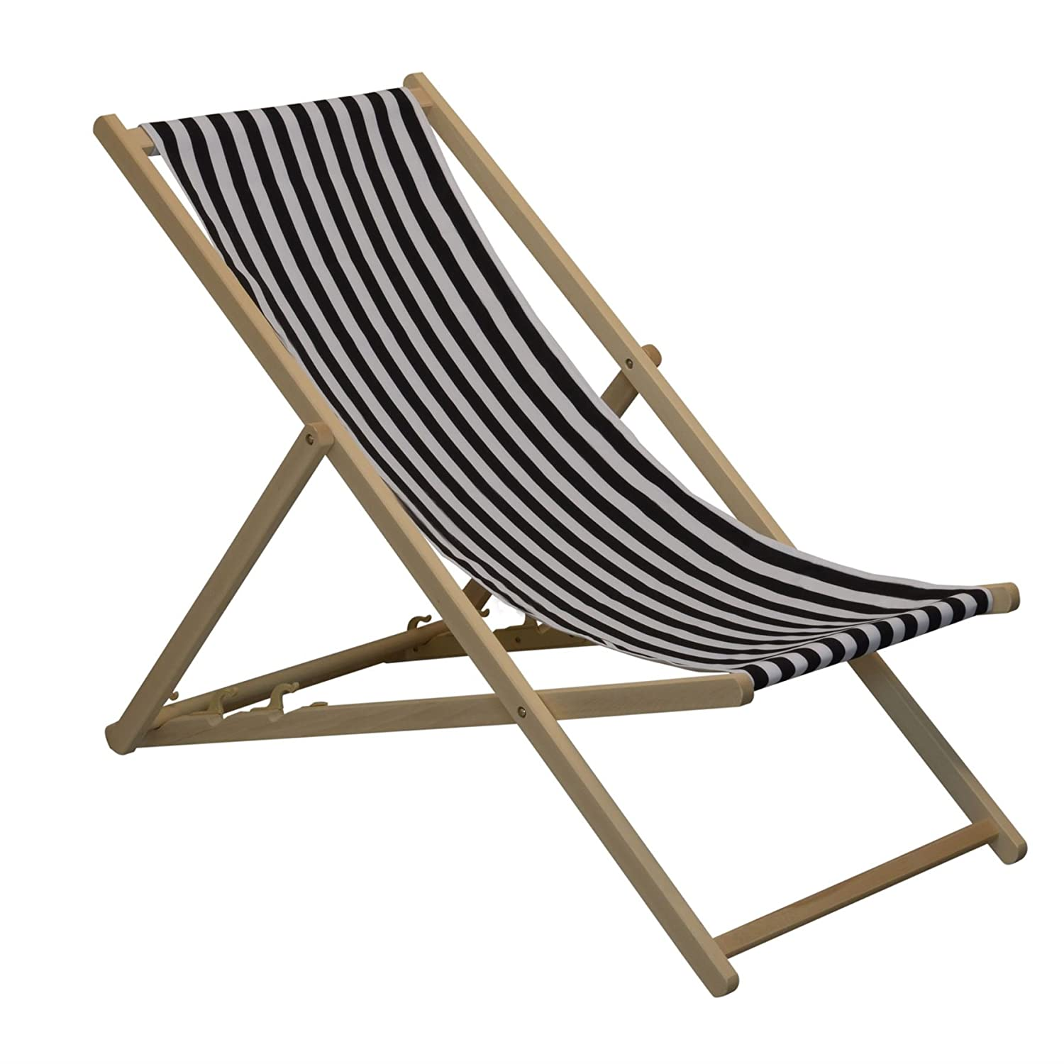 Traditional Adjustable Garden / Beach-style Deck Chair - Black / White Stripe Harbour Housewares