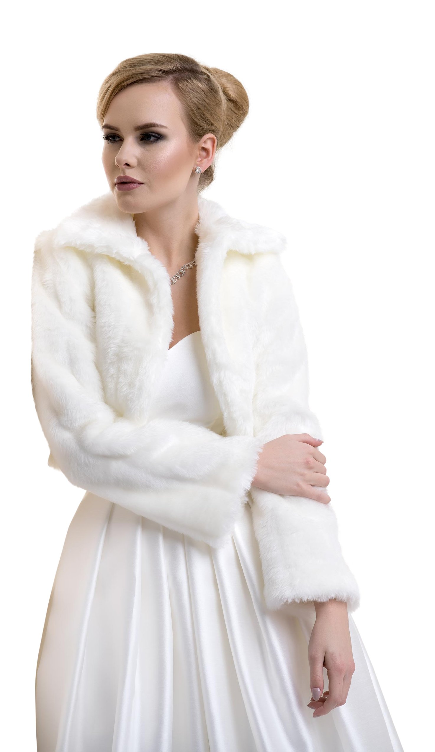 Lacey Bell Womens Wedding Bridal Faux Fur Jacket with Collar Long Sleeves FFJ-20