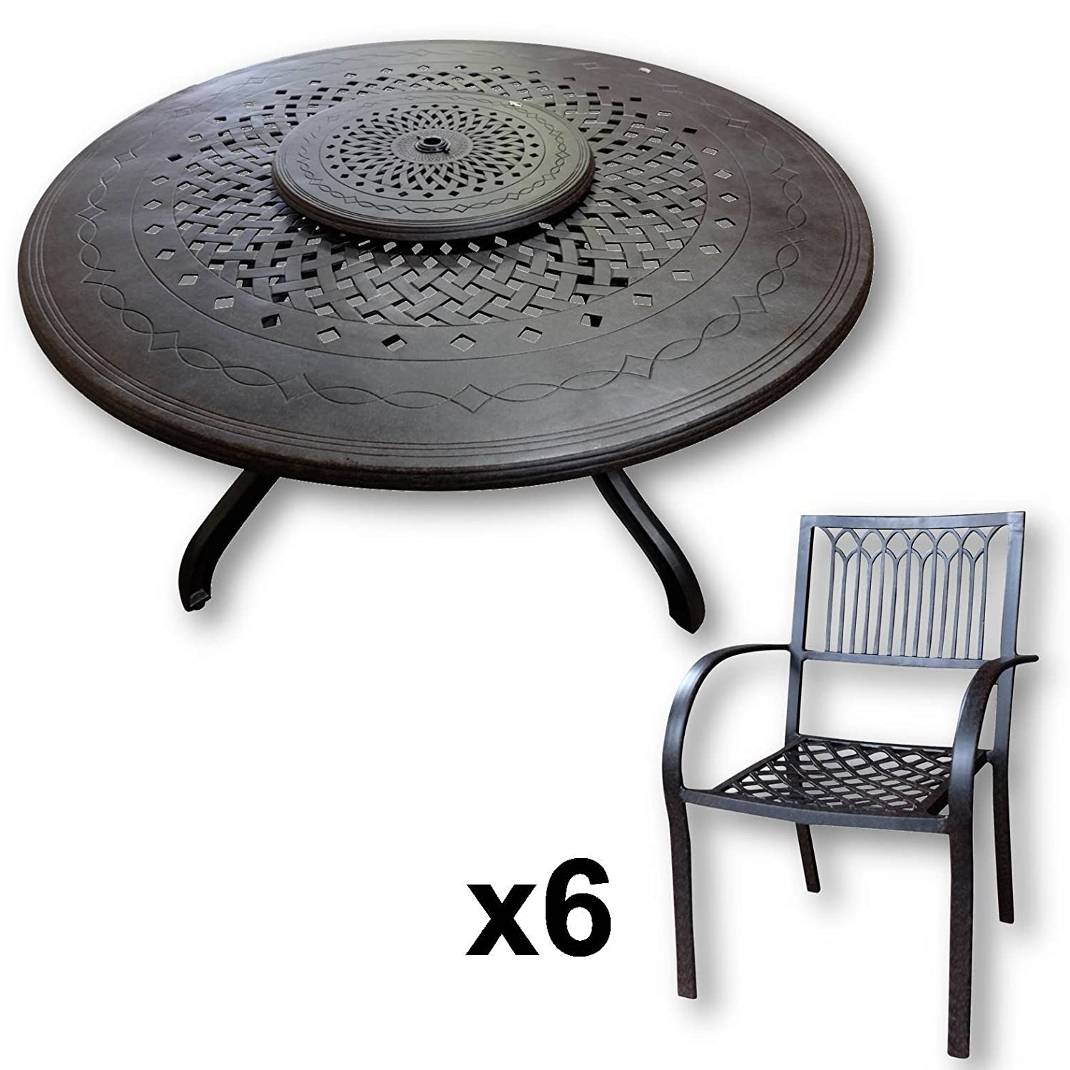 lazy susan amelia 150 cm runder gartentisch mit 6 st hlen gartenm bel set aus metall antik. Black Bedroom Furniture Sets. Home Design Ideas