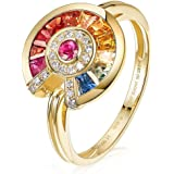 Gnzoe Jewlery Gift - Women 18K Yellow Gold Anniversary Promise Ring, Colorful Gems Sapphire Diamond Rings for Womens