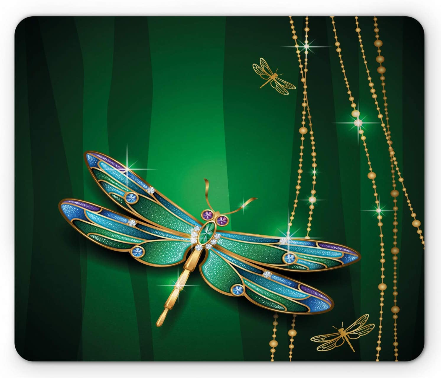 Ambesonne Dragonfly Mouse Pad, Vivids in Gemstone Crystal Diamond Shapes Graphic Effects, Rectangle Non-Slip Rubber Mousepad, Standard Size, Hunter Green