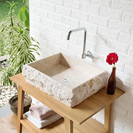wohnfreuden Marmor Waschbecken KOTAK 50 cm ✓ groß recht ...